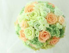 ブーケ プリザーブド フレッシュフルーツのグリーンとオレンジ : 一会 ウエディングの花