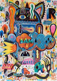 Paintings by seb feraut, via behance art in Art And Illustration, Graphic Design Illustration, Kunst Inspo, Art Inspo, Pablo Picasso, Composition Art, Lowbrow Art, Wow Art, Arte Popular