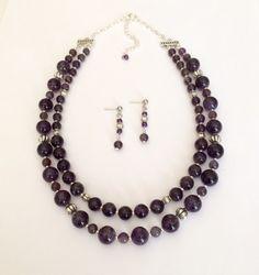 Beaded Amethyst Necklace Set Amethyst Bead Necklace Earrings Gemstone Necklace…