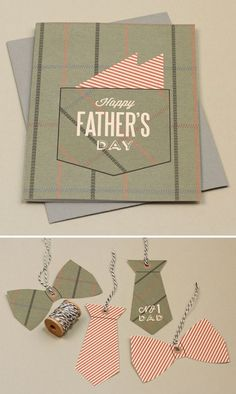Free Father's Day printables: 'Pocket Square' Card and Tie Gift Tags {Card Size 4.25 x 5.5 folded}:
