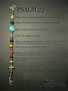 Jewelry Making Bracelets Psalm 23 bracelet with meaning of it: - Christian Crafts, Christian Jewelry, Christian Bracelets, Psalm 23, Beaded Jewelry, Handmade Jewelry, Beaded Bracelets, Pandora Bracelets, Diy Jesus Bracelets