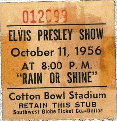 Elvis performed for over 27,000 fans at the outdoor Cotton Bowl concert in Dallas, Texas (Oct 11, 1956)