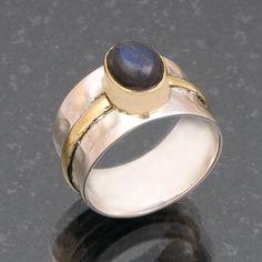 925 SOLID STERLING SILVER SIMPLE RING LABRADORITE GEMSTONE JEWELRY 6.3g DJR4699 #Handmade #Ring