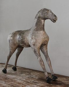 c19th French Papier mache & wooden horse