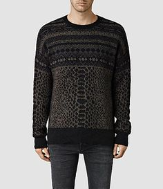 Mens Erddig Crew Sweaters (Black/Khaki) - product_image_alt_text_1