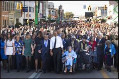 President Obama walks across The Edmund Pettus Bridge, in #Selma, Alabama h/t @dougmillsnyt #Selma50
