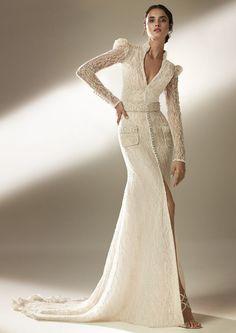Pronovias Wedding Dresses by Season Mini Wedding Dresses, Strapless Lace Wedding Dress, Pronovias Wedding Dress, Wedding Dress With Pockets, Dress With Bow, Wedding Gowns, Cruise Wedding Dress, Wedding Book, Wedding Ideas