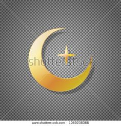 vector icon gold crescent and star isolated on transparent background. Islamic religious symbol of moon. Template for your illustration design  #muslims #religion #moon #star #design #isolated #transparent #gold #metal #glossy #glass #light #bright #icon #symbol #ramadan #ramadan #kareem #celebration #astronomy #simple #metallic #vector