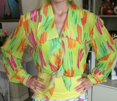 Women Shirt 90s #Vintage #fashion HOT STUFF colorful fluorescent M Pink orange   #Hotstuff #ButtonDownShirt #Clubwear