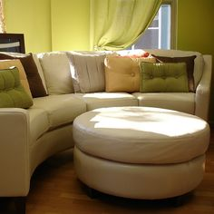 I like the idea of a round couch with a foot rest. Round Couch, Sectional Sofa Sale, Hall House, African Home Decor, Interior Design Inspiration, Foot Rest, Room Interior, Sofa Ideas, Family Room