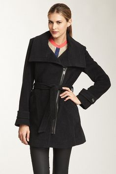 Cole Haan Cashmere/Wool Asymmetric Belted Coat in Charcoal Reg $650 Sale $275. Cole Haan Asymmetric Belted-Zip Coat Luxe Winter-wrappings: You'll find this stylishly cut Cole Haan coat to be totally irresistible for its modish appeal that even wearing it indoors becomes a natural. Catch some fresh air in this gorgeous, warm city-chic Charcoal colored coat.  Ready for a night on the town, dinner and a Broadway show.