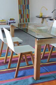 Unimate silla de madera natural y laqueado blanco