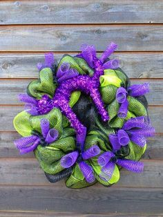 Halloween Door Wreath Fall Deco Mesh Decoration  Black, Green And Purple