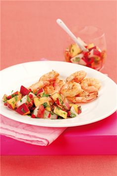 Tiger Prawns with Peach and Coriander Salsa
