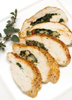 Main Dish - Spinach & Artichoke Stuffed Chicken #FallGatheringWithFriends