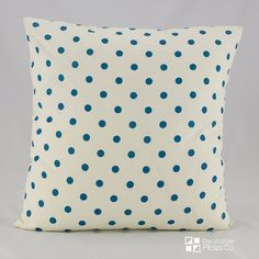 Teal Pillow Covers, Teal Throw Pillow Cover, Teal Polka Dots Throw Pillow Cover…