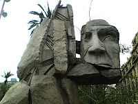Cabeza del indio Mapuche en Santiago, Chile...