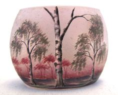 """1 5/8"""" Signed Daum Nancy Miniature Vase, Clear Glass Mottled with Red, Cut with Birch Trees and Sprigs"""