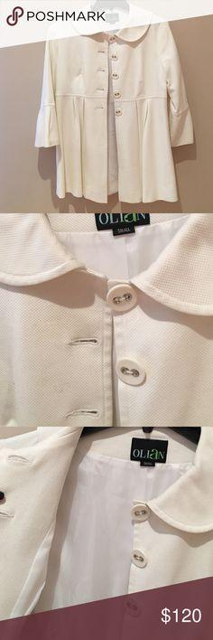 Adorable white pea coat size small Olian super girly and classy pea coat. Beautiful details on the fabric. 3/4 sleeve. Jackets & Coats Pea Coats