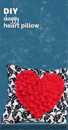 DIY Room Decor Ideas for Teens - Cute Bedroom Decor Like This Shaggy Heart Pillow is Easy when you follow the step by step video tutorial | Cute Valentines Day Gift Idea for Her -  DIY Home Decor and Crafts by DIY Projects for Teens