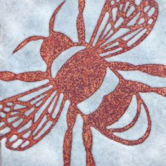 Bumble Bee -  vitreous enamel on copper panel by Janine Partington