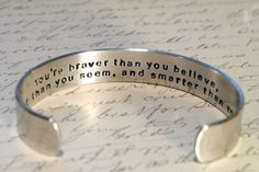 Custom Personalized Secret Message Cuff Bracelet. $22.00, via Etsy.