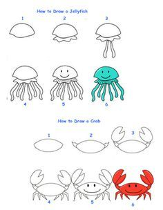 Fun activity that gives students step by step directions for How to Draw 6 different Sea Creatures