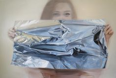 Esther behind the foil 80X120 cm oil on canvas