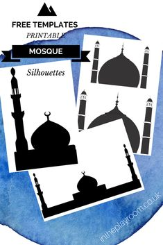 free mosque outline or silhouette templates to print for islamic ramadan crafts for kids