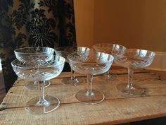 Vintage Cyrstal Champagne Glasses Set of 6 Wide by StylishPiggy