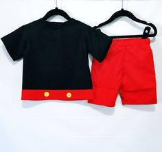 Mickey Mouse Set - Mickey Mouse- First Birthday- Mickey Outfit-Mickey Halloween Outfit-Mickey Birthday Outfit-Mickey Custome size 6M- 7Years