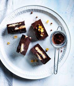 Chocolate-orange truffle slice recipe :: Gourmet Traveller really rich Profiteroles, Cannoli, Orange Dessert, Fondant, Sandwiches, Cupcakes, Chocolate Biscuits, Chocolate Orange, Brownie Bar