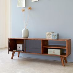 2-Door TV Cabinet - Gray