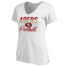 Women s San Francisco 49ers NFL Pro Line by Fanatics Branded White Free Line  Plus Size V-Neck T-Shirt c9bcd66eb