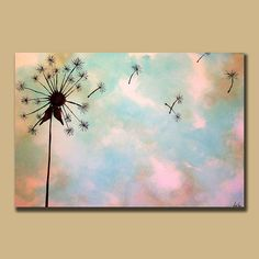 Minimal Dandelion Custom Painting 24 x 36 Perfect wall art for nursery
