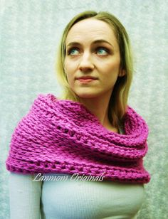 Chunky Cowl Crochet Infinity Scarf Hood by LanmomOriginals on Etsy