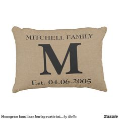 Monogram faux linen burlap rustic initial wedding decorative pillow