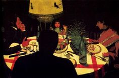 The Dinner, effect of lamp - Felix Vallotton