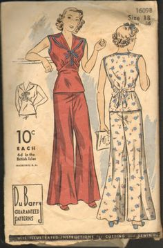 RARE Vintage Du Barry 1609B Sewing Pattern 1930's or 1940's 2 Piece Pajamas | eBay