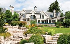 Mansion on Lakeshore Rd East in Oakville, Ontario. North Country Unfading Black roofing slate, x x Waterfront Property, New Property, Real Estate Houses, Estate Homes, Oakville Ontario, Greater Toronto Area, Mega Mansions, North Country, Gold Coast