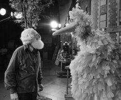 Big Bird and his creator, puppeteer Kermit Love.