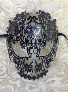 Amazon.com: Black Filigree Skull Venetian Masquerade Mardi Gras Costume Halloween Mask: Beauty