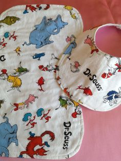 Dr Seuss baby bib and burp cloth set lined by DazzlingCinsations, $8.00