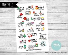 50% OFF SALE Christmas movies Bucket list-Erin Condren Scrapbooking Plum Paper Planner Filofax Inkwell Press Stickers-Christmas stickers