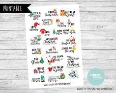 50% OFF SALE Christmas movies Bucket list-Erin Condren Scrapbooking Plum Paper Planner Filofax Inkwell Press Stickers-Christmas stickers