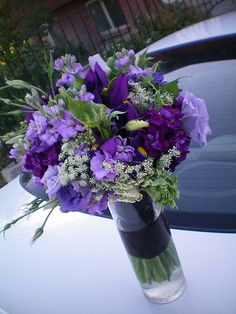 bouquet or centerpiece with irises. too much purple?