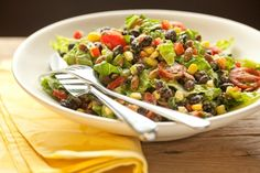 This is a mild but flavorful Southwestern salad that is completely oil-free thanks to the naturally thick and creamy avocado dressing. Vegan, gluten-free.