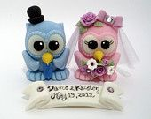 Owl love bird wedding cake topper with nest and banner, autumn wedding, green brown owls