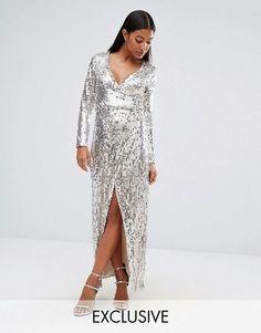 22d5e906dcb Club L Straight Sequins Wrap Over Maxi Evening Dress in Silver UK 8 EU 36