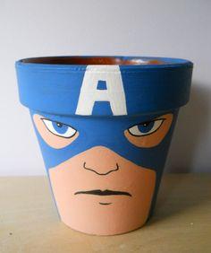 Avengers Iron Man Captain America Hulk painted flower pot set Marvel Superheroes. $45.00, via Etsy.